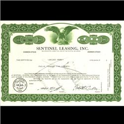 1970s Sentinel Leasing Stock Certificate Scarce Green (COI-3346)