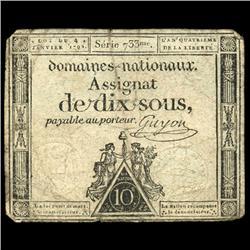 1792 France RARE 50 Sols Assignat Currency Hi Grade (CUR-05876)