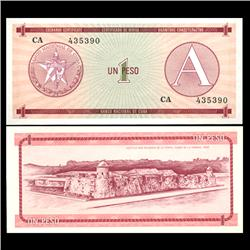 1985 Cuba 1 Peso Foreign Exchange Crisp Uncirculated Note RARE Series A (CUR-05958)