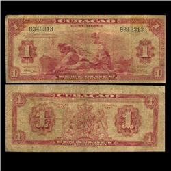 1947 Curaco $1 Note Circulated RARE (CUR-05799)