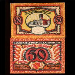 1926 50 Pfennig Karlruhe Germany RARE Crisp Unc Note (COI-3722)