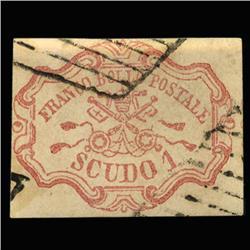 1852 VERY RARE Italy Roman States 1s Postal Stamp Hi Grade $3600 BV (STM-0186)