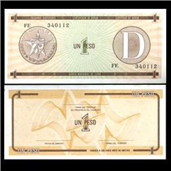 1985 Cuba 1 Peso Foreign Exchange Crisp Uncirculated Note RARE Series D (CUR-05962)