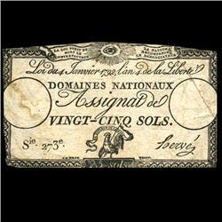1792 France RARE 25 Sols Assignat Currency Hi Grade (CUR-05890)