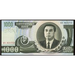 2002 Rare North Korea Gem 1000 Won Note  (COI-1329)