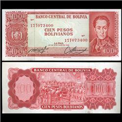 1962 Bolivia 100 Pesos Crisp Uncirculated Note (CUR-05579)