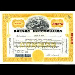 1960s Ronson Stock Certificate Scarce Yellow Overprint (COI-3355)