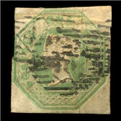 1847 RARE British 1 Shilling Victoria Stamp Hi Grade (STM-0054)