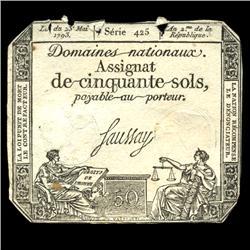 1793 France RARE 50 Sols Assignat Currency Hi Grade (CUR-05887)