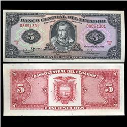 1988 Ecuador 5 Sucre Crisp Uncirculated Note (CUR-05596)