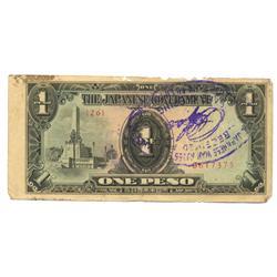 1944 WW2 Japanese Occupation 1 Pesos  (COI-1028)