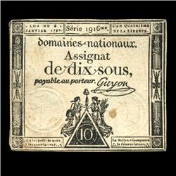 1792 France RARE 10 Sols Assignat Currency AU+ (CUR-05885)