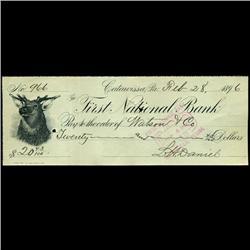 1896 FNB Catawissa PA Cashiers Check (COI-3265)