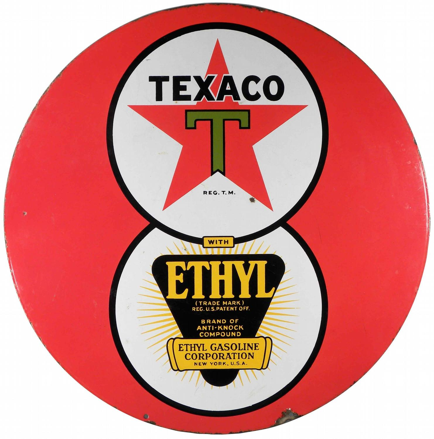 Texaco with Ethyl Two Sided Porcelain Sign