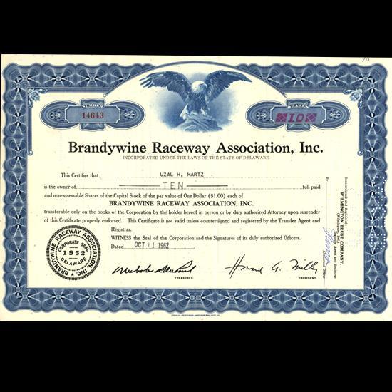 Outstanding Collector/'s Item! Brandywine Sports Stock Certificate