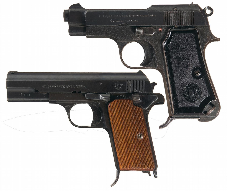 Two WWII European Semi-Automatic Pistols -A) Beretta Model 1935 German  Occupation Semi-Automatic Pis