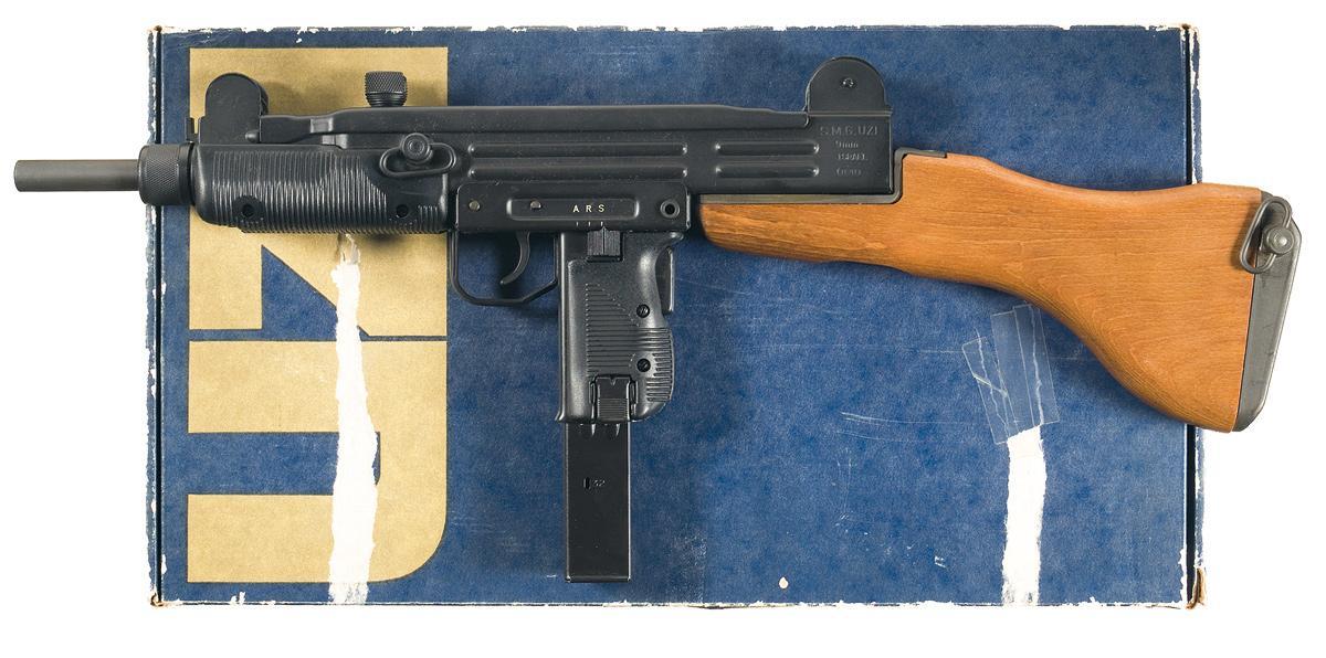 Fully Automatic Class III Israeli Military Industries UZI 9mm Sub-Machine  Gun, with Original Box, Ex