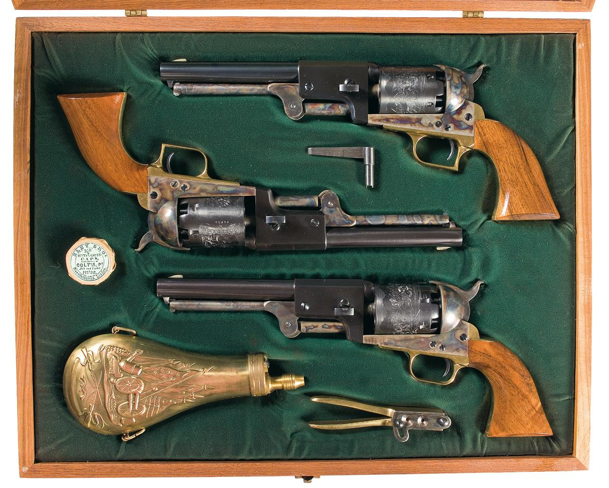 Three Colt Dragoon Black Powder Series Revolvers in Wooden Case with  Accessories -A) Colt Dragoon Th