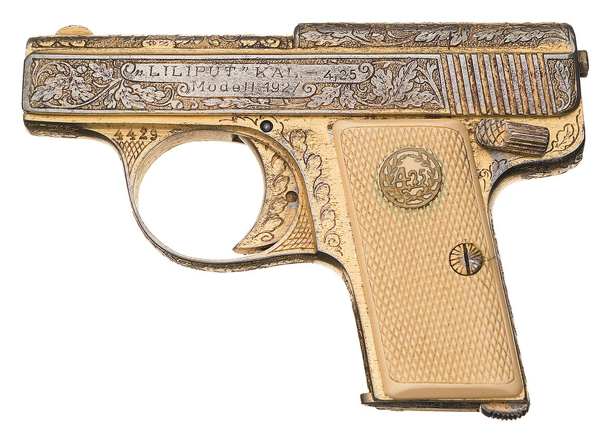 Rare Factory Engraved Gold Plated August Menz Liliput Model 1927  Semi-Automatic Pistol