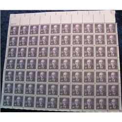 "7. Mint Sheet of .04c ""John Foster Dulles"" Stamps. (Total face value $2.80)"