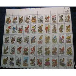 "25. Mint Sheet of .20c "" State Birds and Flowers"" Scott 1953-2002. Catalog $41.00."