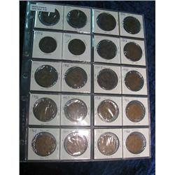 32. 1898, 99, 1900-02, 06-07, 12-13, 16-17, 35-38, 62-66 Great Britain Large Pennies.  (20 pcs.)