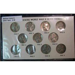 48. 11-Piece Set of U.S. Silver World War II Jefferson Nickels.