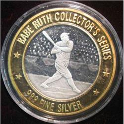 "53. .999 Fine Silver ""Babe Ruth"" Collector's Series Silver Medal with gold-colored bi-metallic ring."