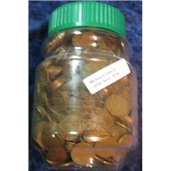 54. Jar of 1,000 Unsorted U.S. Wheat Cents. Mixed dates and grades.