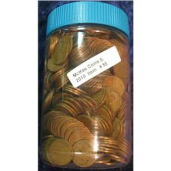 55. Jar of 650 Unsorted U.S. Wheat Cents. Mixed dates and grades.