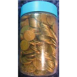 56. Jar of 600 Unsorted U.S. Wheat Cents. Mixed dates and grades.