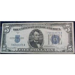 65. Series 1934 D $5 Silver Certificate. VF.
