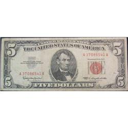 67. Series 1963 $5 U.S. Note.  Red Seal  VG.