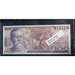 70. Series FH Mexico $100 Peso Banknote.  AU.