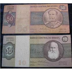 73. $10 & $50 Brazil Cruzeiros Banknotes. VF-EF.