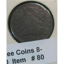 80. 1809 U.S. Half Cent. F-12.