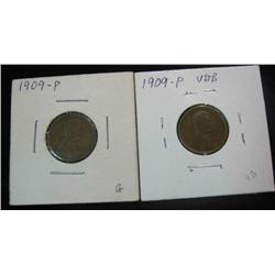 96. 1909 P & 1909 P VDB Lincoln Cents. G-VG.