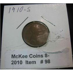 98. 1910 S Lincoln Cent. VG-8.