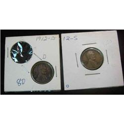 101. 1912 D & 12 S Lincoln Cent. G-VG.
