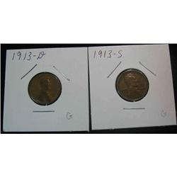 102. 1913 D & S Lincoln Cent. G-8.