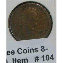 104. 1914 S Lincoln Cent. VG-F.