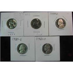 126. 1964P, 68S, 79S, 80S, & 81S Proof Jefferson Nickels.