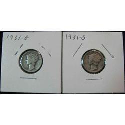 129. 1931 D & S Mercury Dimes. G-VG. Key dates.