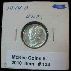 134. 1944 D Mercury Dime. Brilliant Unc.