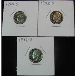 137. 1969S, 82S, & 89S Superb Proof Roosevelt Dimes.