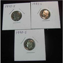 138. 1973S, 83S, & 90S Superb Proof Roosevelt Dimes.