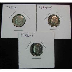 139. 1974S, 84S, & 88S Superb Proof Roosevelt Dimes.