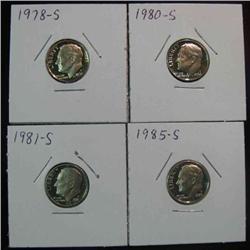 141. 1978S, 80S, 81S, & 85S Superb Proof Roosevelt Dimes.
