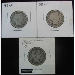 148. 1897P, 1900P, & 05 O Barber Quarters. G-VG.