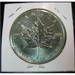 163. 1988 Canada $5 Silver .999 Fine One Ounce Maple Leaf.